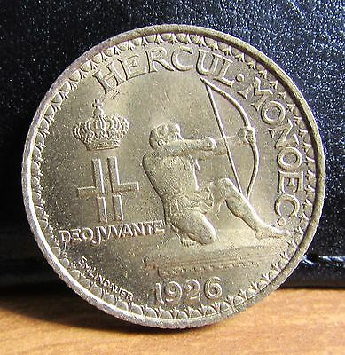 1926 Principality of Monaco Bronze 1 Franc Low Mintage Year Coin