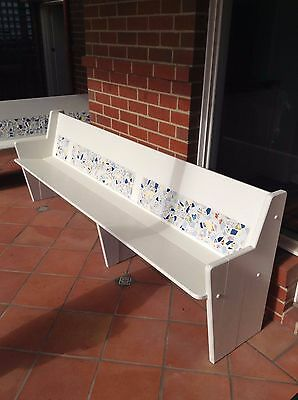 Wooden Mosaic White Benches (x2)