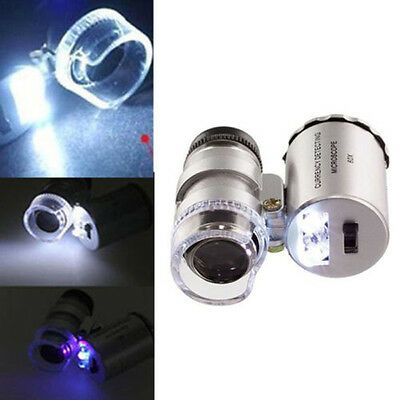 Mini 60X Pocket Microscope Glass Magnifier Loupe UV Currency Detector LED Light