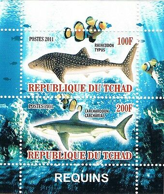 Bloc Sheet Requins Squales Neuf ** MNH - Tchad 2011  Private / local issues