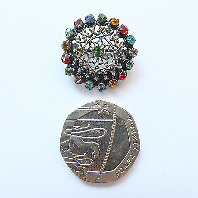 Lovely Antique Tiny Czech Filigree and Multi Colour Paste Brooch/ Lace Pin