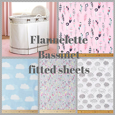 Bassinet, Moses, Boori flannelette fitted sheet in clouds, feathers