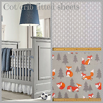 Flannelette crib sheet / cot sheet bedding in grey arrows, foxes, clouds
