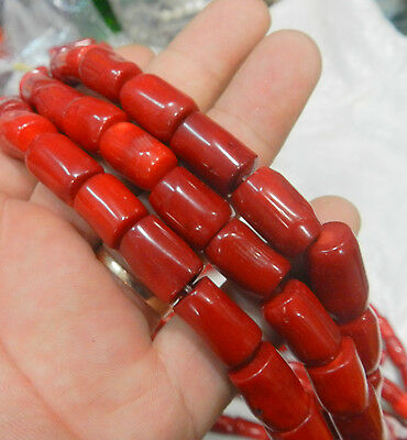 """10x15mm form Column Red Coral Jewelry Making loose gemstone beads strand 15"""""""