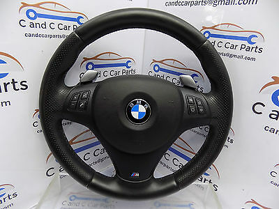 BMW E90 E91 E92 3 Series M Sport Steering Wheel Black Leather Flappy Paddle 4A1B
