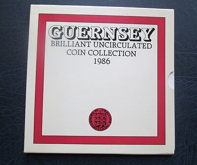 1986 Guernsey Brilliant Uncirculated Set of Coins - BU - Mint Sealed