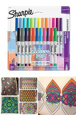 Sharpie Permanent Ink Markers Ultra Fine Pop Point Assorted 24 Color Pen Pack