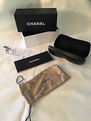 New Authentic Chanel Quilted Hard Shell Sun Glasses Case /box /empty