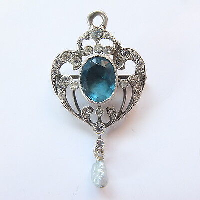 Stunning Antique Victorian Solid Silver Paste Lavalier Pendant/Brooch Marked 935
