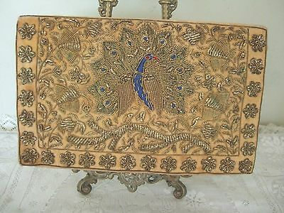 Superb Vintage Gold Embroidered Evening Clutch Bag With Peacock Detail
