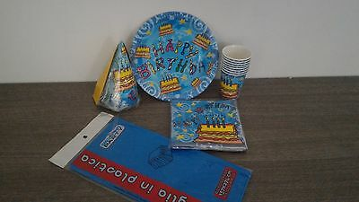 Set Per 12 Persone Happy Birthday Per Party Feste Di Compleanno (Blu)