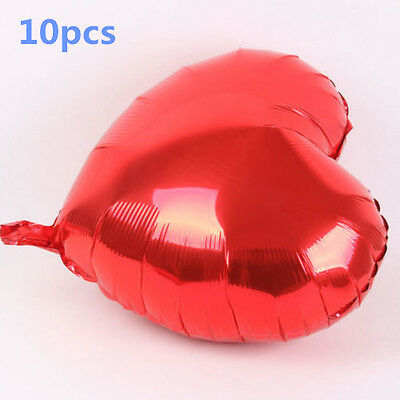 """10PCS Red Heart Shape 18"""" 18 Inch Wedding Birthday Party Helium Foil Balloons"""