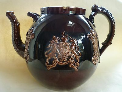 Huge Antique Victorian Pottery Sprigged Treacle Glaze Teapot, Royal Arms A/f