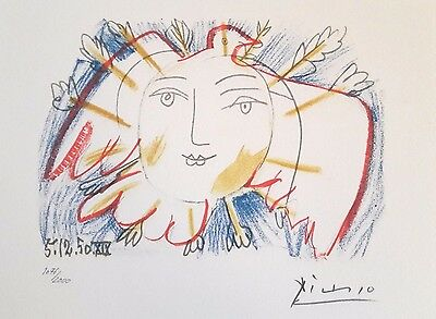 + original signiert Pablo Picasso THE FACE OF THE PEACE Freiheit Frieden Taube +