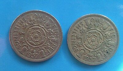 1957 Two shilling  Queen Elizabeth ll  coin