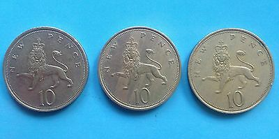 Three very collectible old  large 10p coins