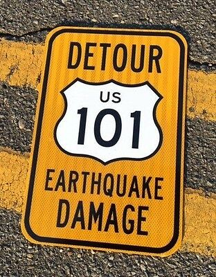 "California US 101 Road Sign Hollywood earthquake DETOUR 12""x18"" UNUSED highway"