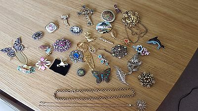 Job lot costume jewellery, brooches necklace
