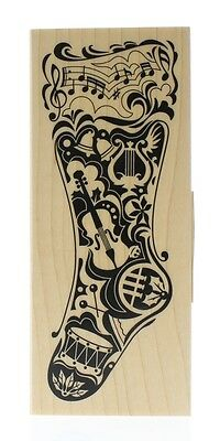 Hampton Art Mindscape Holiday Musical Christmas Stocking Wooden Rubber Stamp