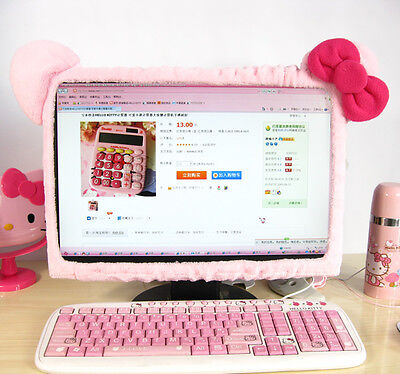 "New Hello Kitty Pink Bow Plush Computer LCD Monitor Decoration 17""-21 HC30"