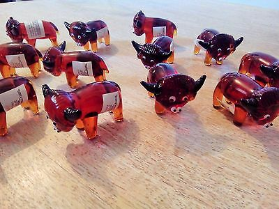 Lot of 12 Glass Animal Ornaments: Bull