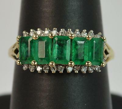 Art Deco Design 1.50ct Emerald & Diamond 9ct Gold Cluster Ring f0024