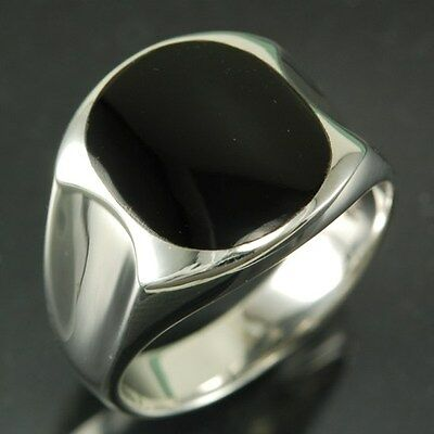 Mens Stone Silver Ring, Mix US Sizes, w Black Onyx, 925 Solid Sterling Silver,