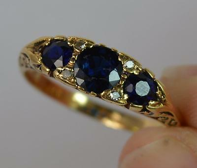 Victorian Design Sapphire and Diamond 18ct Gold Cluster Ring f0025