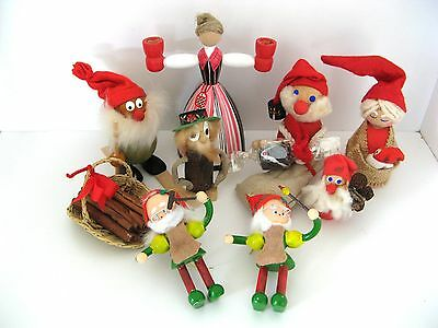 8 VTG  WOODEN SWEDISH CHRISTMAS GNOMES ELVES DECORATIONS ORNAMENTS, some SIGNED!
