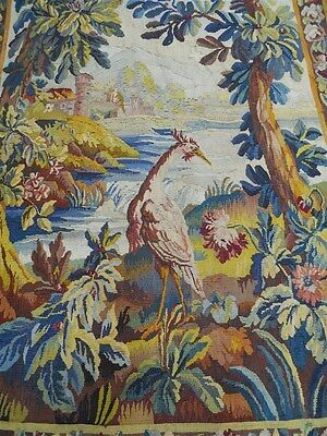 Aubusson French antique tapestry 18th-century verdure with bird