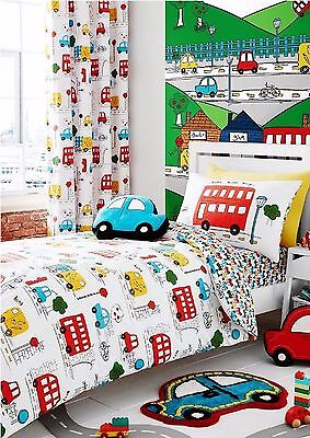 Catherine Lansfield Kid's Transport Bright Cars Bus Road Boys Bedding Duvet Set