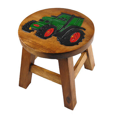 Childs/Childrens/Kids Wooden Stool - Green Tractor
