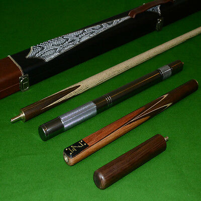 Handmade 4 Piece Zebra Wood Inlayed Ash Snooker Cue Set with Case and Extensions