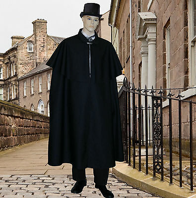 Mens Victorian Dickensian Edwardian cape costume fancy dress Carol singer
