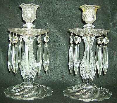 Duncan And Miller Crystal/glass Candle Holders Pair Teardrop Prisms Dangles