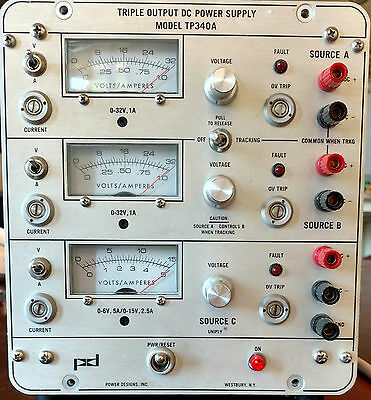Power Designs TP340A Triple Output DC Power Supply Tracking TESTED  WORKING