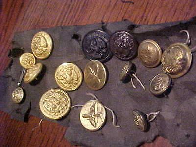 Vintage Assortment Of 15  Airforce, Navy, Civil War Military Buttons / Excellent