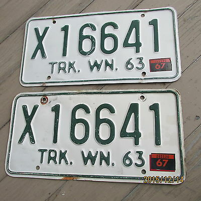 1963 to 1970  WASHINGTON TRUCK  LICENSE PLATES w 67 tabs PAIR - PLATE -- X 16641