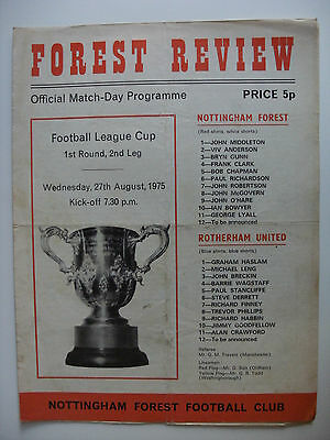 1975 Nottingham Forest v Rotherham United 27-8-75 League Cup