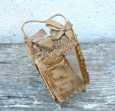 Antique 1900s French glass and silk reliquary pocket watch holder trinket box