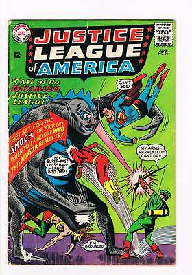 Justice League of America # 36 Case of the Disabled JL ! grade 3.0 scarce book !