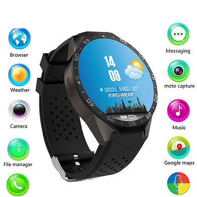 Kingwear KW88 Bluetooth Sports Smart Watch WifiGPS Phone Mate For Android IOS