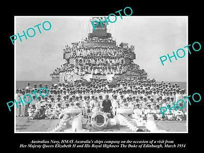 OLD LARGE HISTORIC PHOTO OF AUSTRALIAN NAVY, CREW OF THE HMAS AUSTRALIA c1954