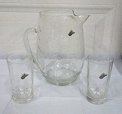 West Virginia Glass Pitcher with Two Glasses