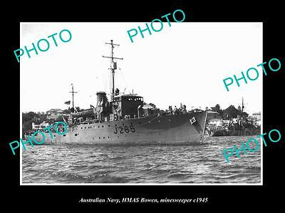 OLD LARGE HISTORIC PHOTO OF AUSTRALIAN NAVY, THE HMAS BOWEN MINE SWEEPER c1945