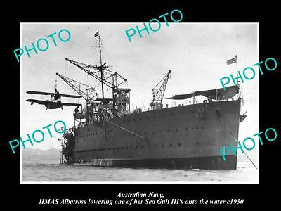 OLD LARGE HISTORIC PHOTO OF AUSTRALIAN NAVY, HMAS ALBATROSS & SEA GULL c1930