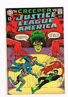 Justice League of America # 70 Versus the Creeper ! grade 7.0 scarce book !!