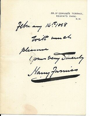 19th c Signed Letter Harry Furniss illustrator Punch