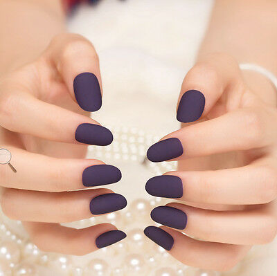 24PCS Light Deep Purple Color False Nails  Press on Nail Art Tips Fake Nail