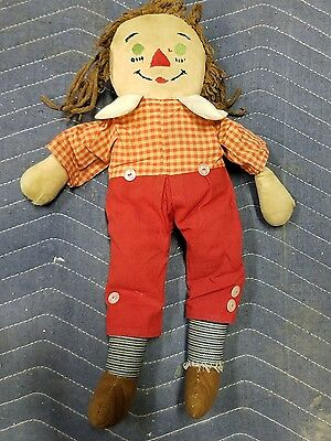 """VINTAGE RAGGEDY ANN DOLL - 1950's? - 15"""" TALL - Well Loved"""